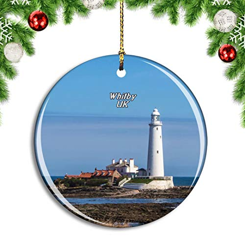 Weekino UK England Whitley Bay St Mary's Lighthouse Christmas Xmas Tree Ornament Decoration Hanging Pendant Decor City Travel Souvenir Collection Double Sided Porcelain 2.85 Inch