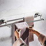 Toalla de toalla, barra de una sola barra doble impermeable de acero inoxidable, soporte de toalla de mano autoadhesiva, perchero de toalla, estante de toalla, en cuarto de baño / cocina-a-two_instala