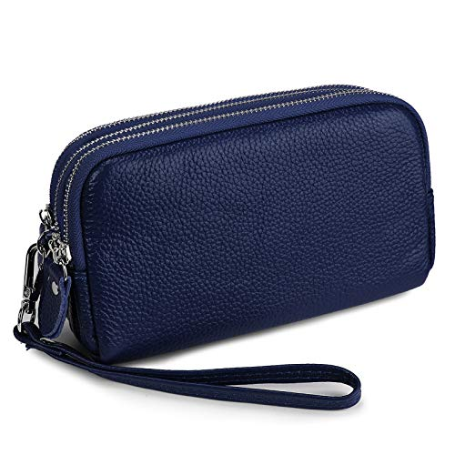 YALUXE Portafoglio Donna Pochette 3 Tasche con Zip Portamonete in pelle Grande capienza con bracciale removibile