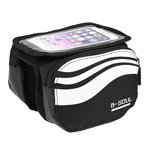 Domybest Bolsa para marco de bicicleta, bolsa para manillar de bicicleta, impermeable, con pantalla táctil para teléfono de 5.7 pulgadas, color plata, tamaño talla única