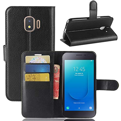 Ycloud Tasche für Samsung Galaxy J2 Core Hülle, PU Kunstleder Ledertasche Flip Cover Wallet Hülle Handyhülle mit Stand Function Credit Card Slots Bookstyle Purse Design Schwarz