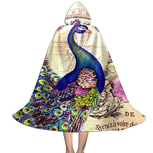 Vintage Colorful French Peacock and Flowers Hooded Cloak for Teen Funny Hoodie Cape with Hood for Halloween Christmas Poncho Cosplay Costumes