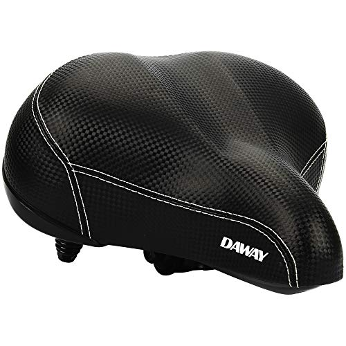 DAWAY Oversized Comfortable Bike Seat - C20 Soft Foam Padded Wide Leather Bicycle Saddle Cushion Men Women Seniors, Fit Cruiser, Spin, Exercise Bikes & Outdoor Cycling, Black