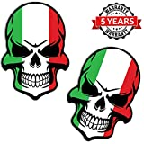 Biomar Labs® 2 Stück Vinyl Italien Flagge Schädel Totenkopf Aufkleber Autoaufkleber Stickers Auto...
