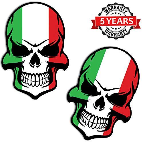 Tuning B 130, vinyl Italiaanse vlag, schedel, doodshoofd, sticker, autosticker, motorfiets, fietshelm, raam, 2 stuks