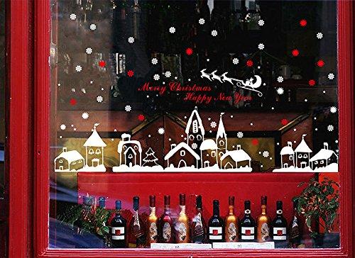 DAY8 Stickers Muraux Noël Décoration Vitre Autocollants Noël Bébé Fille Déco Noël Enfants Garçon Chambre Salon Fenêtre Wall Stickers Noël PVC (60 * 90cm, A)