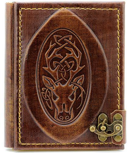 Libreta de piel con diseño de cabeza de ciervo, diario, páginas en blanco, marrón, libro de tiro, álbum de poesía, libro de caza (3º grande)