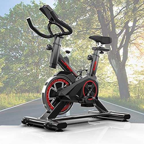 Bicicleta estática Ciclo Indoor. Bici spinning, Volante de Inercia, Nivel Avanzado, Sistema de Absorción de Impactos, Sillín ajustable, pulsómetro,Pantalla LCD, Fitness