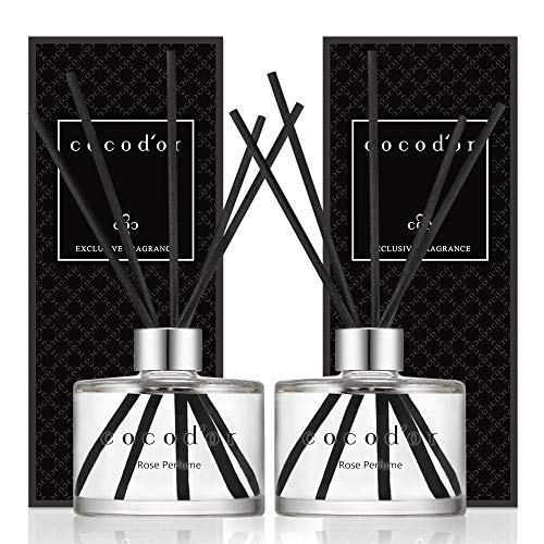 [Cocod'or/Rosenparfüm] Reed diffusers oil with a set of 5 fiber sticks, 200ml*2packs, Best for Home, Kitchen, Bathroom. A wide variety of scents for Aromatherapy. diffuser öl set, Duftöldiffusoren