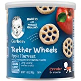 Teething Snacks: These tasty rice/corn puffs with fruit flavor are the perfect snack to soothe teething gums for a baby learning to self feed. A wagon wheel shape makes it easy for small hands to grasp, hold, and mash Nutritious Snack: These teether ...