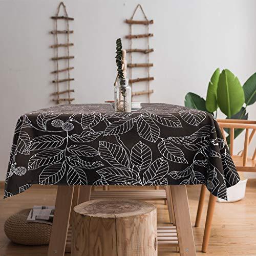 Ihoming Tischdecke Schwere Vintage Sackleinen Baumwolle Tischdecken für Rechteck Tische, braun Bedruckte Blatt Tischdecken waschbar für Küche Dinning Party 55 x 78in