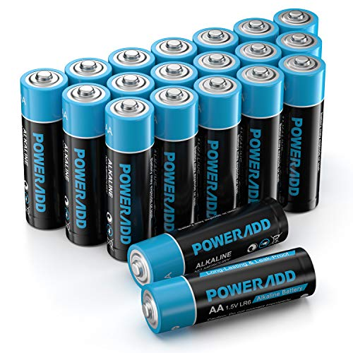 Poweradd Pilas Alcalinas AA Baterías LR6 de 10 Años Larga Duración para Linternas, Relojes, Mandos a Distancia, Juguetes-20 Unidades de 1.5V