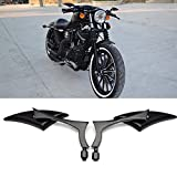 Black 8mm/10mm Motorcycle Spear Blade Rear View Side Mirrors for Cruiser Chopper Yamaha Sportster Dyna Softail