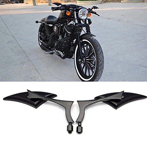 Black 8mm/10mm Motorcycle Spear Blade Rear View Side Mirrors for Cruiser Chopper Honda Yamaha Sportster Dyna Softail