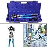 FEMOR Crimpzange Set Presszange V-Kontur Rohrpresszange 15-18-22-28 mm, 360° schwenkbaren Kopf, für Kupferrohr und Edelstahlrohre verwendbar