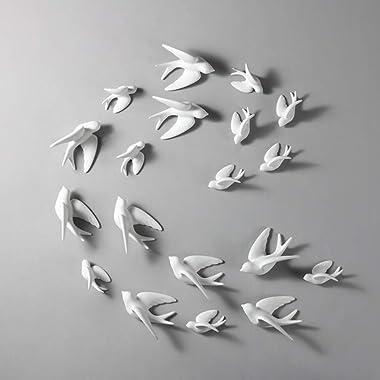 Dorlotou Set of 6 White Ceramic Birds Doves Sparrows Swallows Wall Mounted Decor Hanging for Bedroom Livingroom Garden Wall S