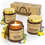 Scented Candles Gift Set for Women, 3 X 3.5oz Candles for Home Scented, TRINIDa Organic Soy Wax Aromatherapy Candles with 10% Essential Oils, Strong Fragrance for Stress Relief(6 Plant Essential Oils)