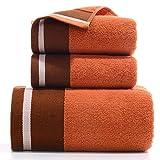 JEONSWOD Toalla 3PCS / Set Toallas de playa de algodón Toalla de baño engrosada Ecológica (Color : Orange)