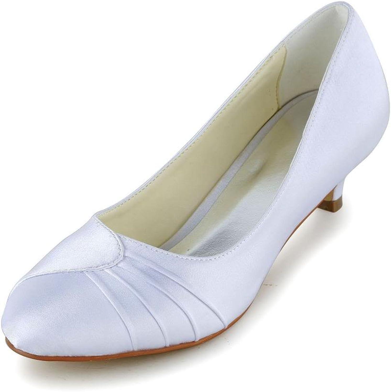 Jia Jia Women's Bridal 0117 Peep Toe Hight Heel Satin Wedding shoes White 9 B(M) US