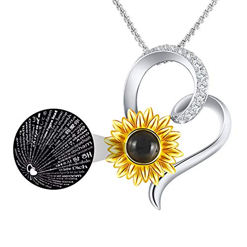 SNZM Collana con Ciondolo Cuore Amore Ti Amo Collana 100 Lingue Placcato in Oro Bianco Collana con Pendente di Girasole You Are My Sunshine Zirconia Cubica 5A Gioielli Regalo per Donne Ragazze