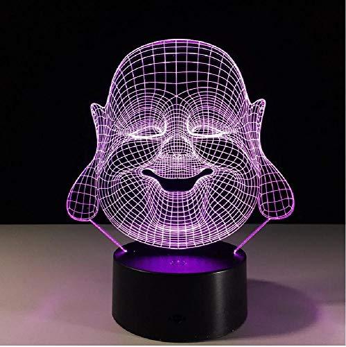 Lámpara Led 3D Maitreya Buddha, luz de noche para dormitorio, 7 colores, iluminación USB Rgb para el hogar, decoración de mesa de escritorio, regalo de luz para budista