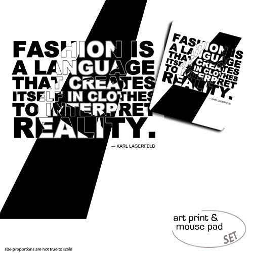 1art1 Mode, Fashion is A Language That Creates Itself In Clothes to Interpret Reality, Karl Lagerfeld 1 Poster Kunstdruck (80x60 cm) + 1 Mauspad (23x19 cm) Geschenkset