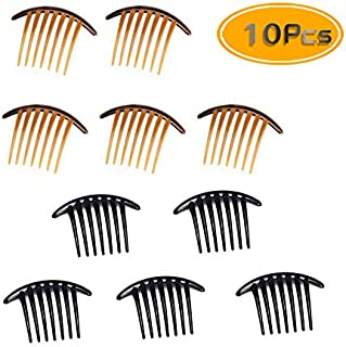 Fireboomoon 10PCS Contemporary Seven Tooth French Twist Comb, Hair Side Comb Hair Clip, Black And Brown (Two Colors, Each Five) French Twist Comb,French Twist Hair Comb,French Comb,French Twist