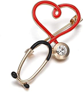 Trendy Stethoscope Pin Badge Gold Brooch Nurse Doctor Medical Jewelry Crystal