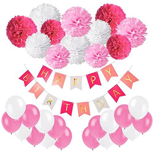 Geburtstag Party Dekoration, Recosis Happy Birthday Banner Girlande mit Seidenpapier Pompoms und Luftballons für Mädchen und Jungen Jeden Alters