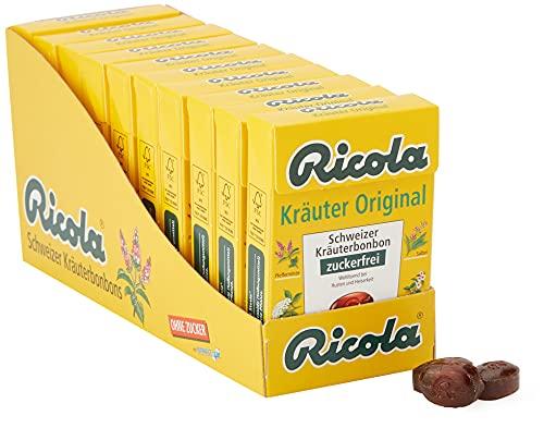 Ricola Kräuter Original, Schweizer Kräuterbonbon, 10 x 50g Böxli, ohne Zucker, Wohltuend für Hals und Stimme
