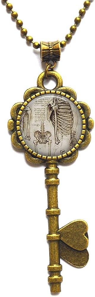 Collar con llave de anatomía, regalo para ortopedista, enfermera, quiropráctico, regalo médico, estudiante de graduación, collar de llave N273