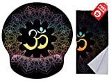 Spiritual Symbols Ohm Mandala Print Ergonomic Design Mouse Pad with Wrist Rest Hand Support. Round Large Mousing Area. Matching Microfiber Cleaning Cloth for Glasses & Screens. Great for Gaming & Work