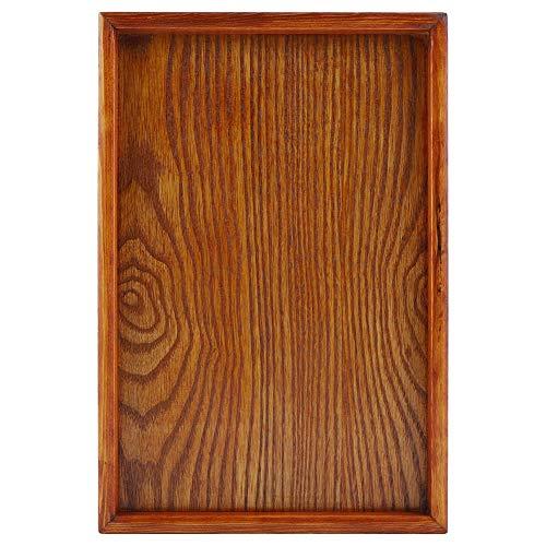 Yagosodee Bandeja rectangular de madera para té que sirve de mesa, aperitivos, plato de comida y plato de almacenamiento de cocina (30 x 20 cm)