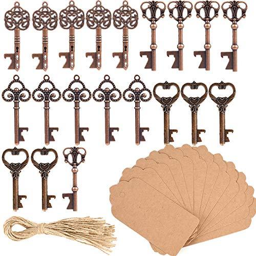 20 Unidades Clave Abrebotellas, Ouinne Abrebotellas con Forma de llave con Etiquetas de Tarjeta para Obsequios de Bodas Cumpleaños y Fiestas