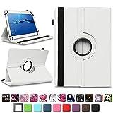 NAmobile Schutzhülle kompatibel für Huawei MediaPad T1 T2 T3 T5 10 Tablet Hülle Tasche Schutzhülle Case 360 Drehbar, Farben:Weiss