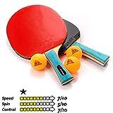 Meteor Racchetta Tennis Tavolo Ping-Pong Set 2 Racchetta da Ping Pong e 3 Palline Table Tennis Tennistavolo - Ideale per Bambini Ragazzi e Adulti per Allenamento e Giochi ricreativi (1 Stella)
