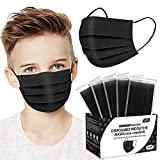Kids Face Mask, Black Disposable Face Mask for Boys and Girls-Soft on Skin, 3 Ply - 5.7