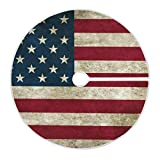 Qilmy American Flag Christmas Tree Skirt Double Layers Fine Tree Skirt for Christmas Handicraft for Holiday Party, New Year Festive Decoration 48 Inches