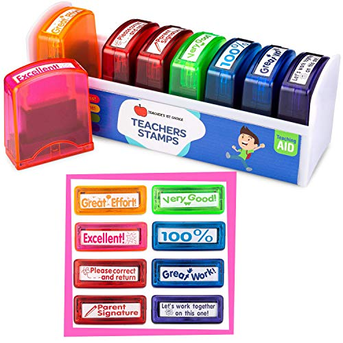Teacher Stamps | Teacher Gifts For Women & Men (8-Piece Set) | Teacher Supplies For Classroom Teacher Appreciation Gift Self Inking Stamps For Teachers Sign and Return Stamp Storage & Organization Kit