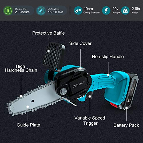Merece 4 Inch Mini Chainsaw 20v 1.5Ah Cordless Electric Chainsaw Battery Chain Saw, 1.1KG One Hand Chainsaw for Garden Bush Tree Branch Pruning Shears Wood Cutting