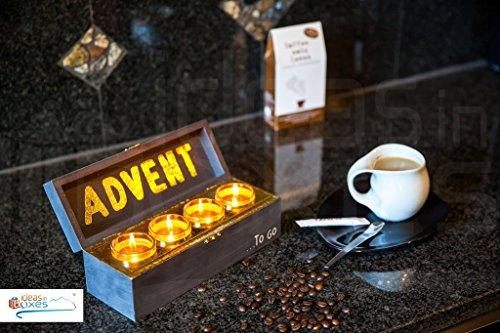 """Advent \""""to go\"""" Box mit echten Bienenwachskerzen - Adventskranz mit Teelichtern - 100{f85c6c7e772a76f8cc79a5232961312b02b954f66851e9802eef25f60cfa6d8d} Bienenwachs - Originelles Weihnachtsgeschenk"""