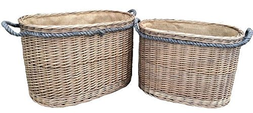 Set 2 Oval Rope Handled Paniers Connexion