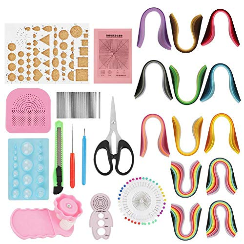 Quilling Paper DIY Tools Sets with All Necessary Tools and Storage Box Suitcase for Beginners, Advanced Quiller, Kids and Adults(900pcs Gradient 9 Colors, 1040pcs 26 Colors, Color Random)