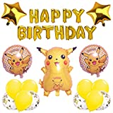 JAHEMU Birthday Ballons pour Pokemon fête Happy Birthday Bannière Feuille Ballons Latex Jaune Ballon pour Fête Enfants Fournitures Décoration de Noël (16 Pièces)