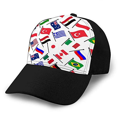 6 Gorras de béisbol, Sombreros Militares, Sombreros de papá para el día del Padre, Regalo de acción de Gracias Banderas Curvas de Colores Simples de Diferentes países Gorra Lisa