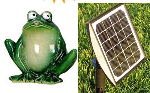 powershop11 Wasserspeier Frosch 16 cm dk.grün mit Solarpumpe Solaris 170