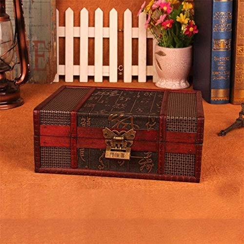 OH Caja de Alenamiento de Joyería Caja de Joyería Retro Caja de Alenamiento Caja de Alenamiento de Madera de Madera Hermosa Joyería de Alenamiento Organizador Seguro y fuerte/Brow