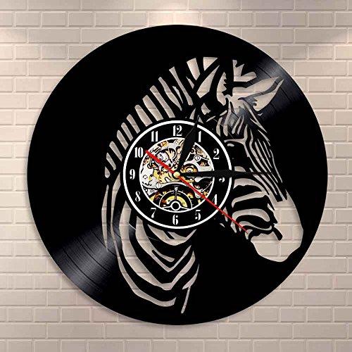 orologio da parete zebrato JXWH Zoo Animal Nursery Famiglia Decorazione Orologio da Parete Zebra Orologio da Parete in Vinile Orologio da Parete Zebra Cavallo Arte Africana Orologio da Parete Animale