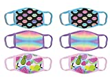 ABG Accessories Girls' Reusable Protective Fashion Face Masks (6 Pack), Tie-dye/Fruits, Size Age 4-14