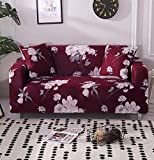 Funda Elástica de Sofá Cubre Antideslizante/Protector Ajustables de Sofá, Decorativas Fundas Flor roja Impresa -para Sofas, con Cuerda de Fijación (3 Plazas:175-220cm)+1 Fundas de Almohada